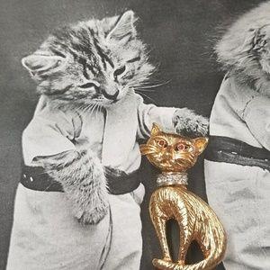 CUTE VTG Kitty Brooch